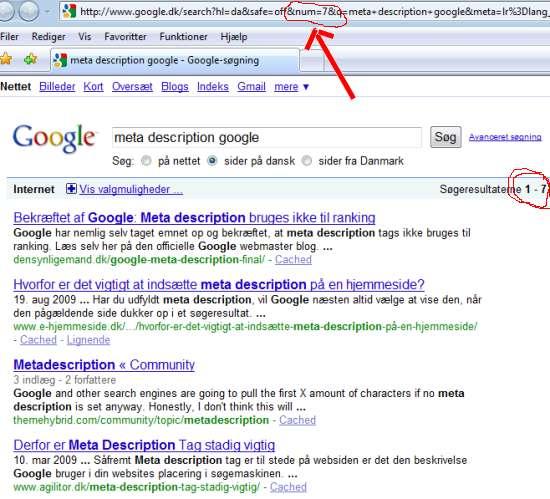Screenshot fra Google med &num-parameter i brug