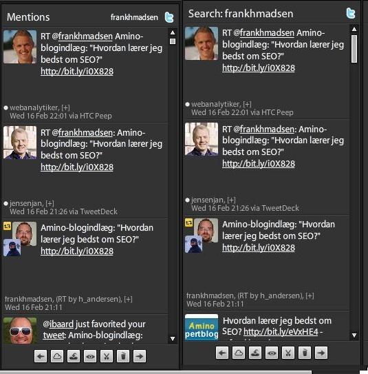 Screenshot af retweets i Tweetdeck-programmet