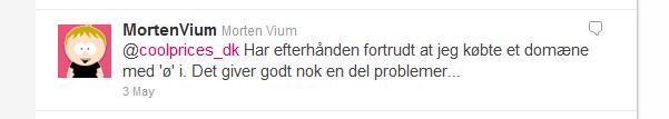 Morten Vium brokker sig på Twitter over sit domæne med ø i.