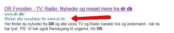 Screenshot, der viser muligheden for at blokere søgeresultater fra dr.dk