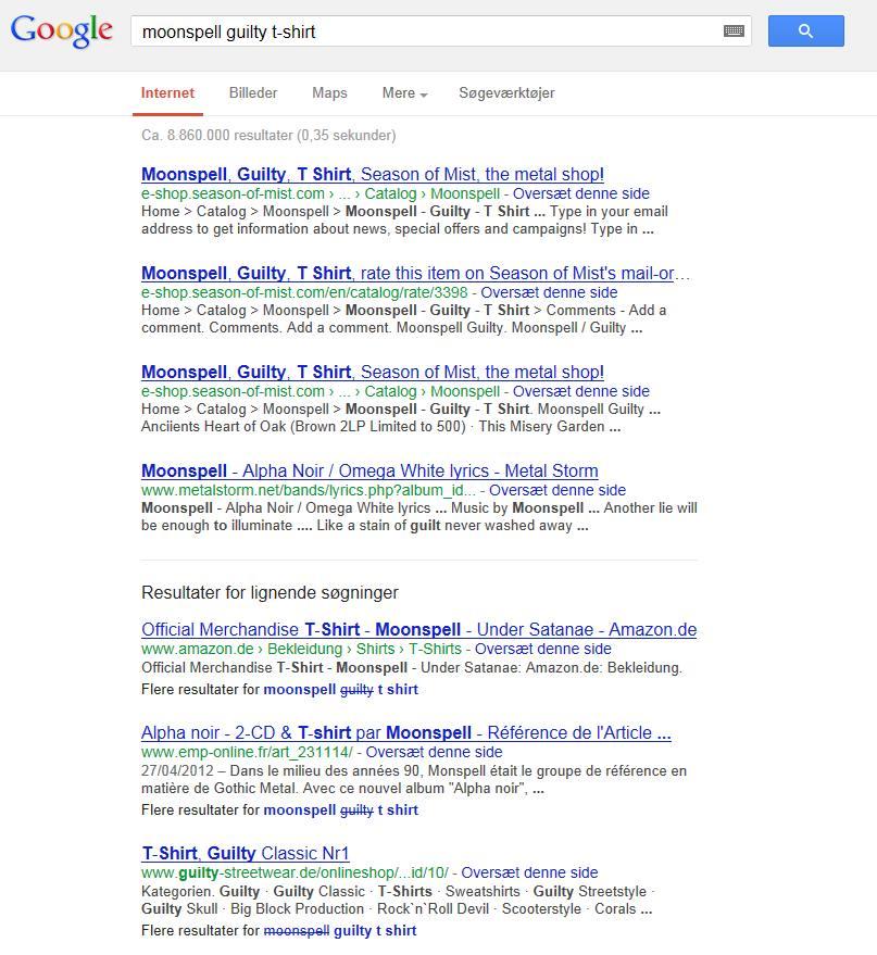 4 organiske resultater i søgeresultatet fra google.dk